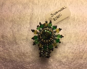Beaded Swarovski Rivoli Crystal ring