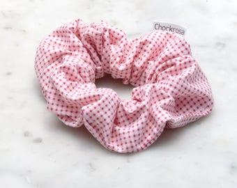 Pink gingham scrunchie, pink scrunchie, checkered hair accessory, hair scrunchie, handmade scrunchy, hair accessories, cotton hair tie