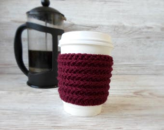 Coffee Cosy, Burgundy Red coloured,  Coffee Sleeve, Takeaway hot drink sleeve thing