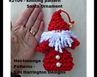 KNITTING PATTERN, Knit Santa Ornament, Christmas ornament, Hanging decoration, tree ornament, #2104K, Hectanooga Patterns