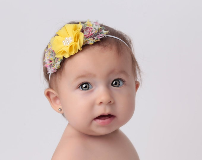 Floral and Yellow Mini Flower Headbands, newborn, birthday, photo prop, photos, baby girl, skinny elastic, fits all ages