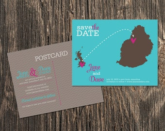 Mauritius – Beach Save the Dates - Destination Wedding - Save the Date Postcard, Magnet
