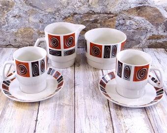 Mid Century Modern Aynsley Kon-Tiki Coffee Set for Two