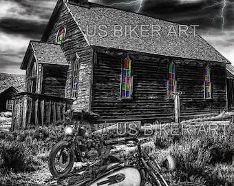Harley Davidson Old School Flathead Wild West Church Biker Art Print