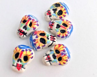 Diamond eyes skull 6 piece beads set hand painted calaveras by Marie Segal 2018 verticle holes