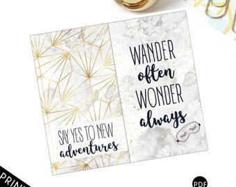 Pocket Travelers Notebook (TN) Dashboard, Pocket Folder, Notebook Cover Marbel and Gold, Wanderlust