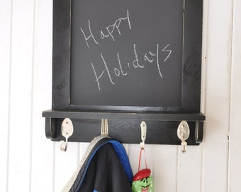 Chalkboard with Shelf and Silverware Hooks Recycled Silverware