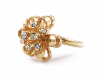 Rhinestone and Gold Flower Ring, Size 8.5, Crystal Ring, Vintage Ring, Flower Ring, Gold Flower, Statement Ring