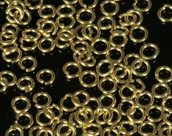 Open jump ring 3 mm 24 gauge( 0,5 mm )  varnish raw brass jumpring 1151V