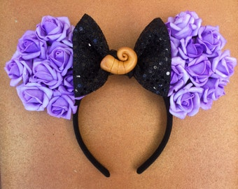 Disney Villain Little Mermaid Ursula Sea Witch Purple Rose Floral Minnie Ears