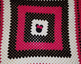 Minnie Mouse Granny Square Blanket
