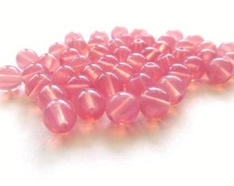 Smooth Milky Pink Round Czech Glass Druk Beads, 6mm - 50 pieces