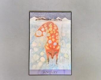 Vintage Original 1970's Brian Wildsmith Calendar Poster January Fox