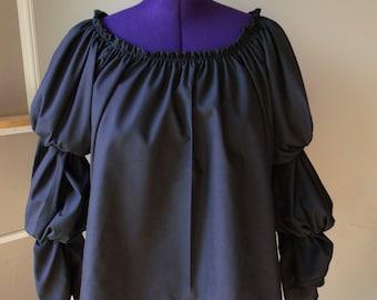 Pirate Wench Gypsy Renaissance Blouse Chemise Costume Black