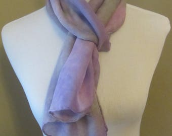 Hand dyed rose and lavender silk and wool scarf -