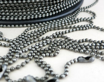 NEW! Dungeon Grey Ball Chain 3 ft to 50 ft, 2.4mm balls, Free Connectors, Bulk Chain Choose Length