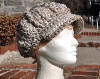 Beige, Gray and White Newsboy Hat - Crocheted Hat in Wool Acrylic Blend - Women's Hat with Brim - Chunky Knits - Winter Hat Accessories