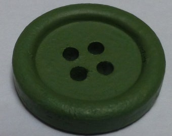 Small round hand painted wooden buttons – Green