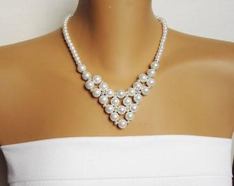 Beaded Bride Jewelry Set, Bridal Jewelry Set, Weddings Jewelry, White pearl Jewelry Set