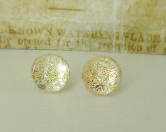 Small  cabochon - stud earrings silvery 8 mm