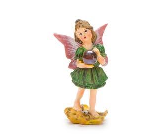 Standing Fairy w/ Gazing Ball in Green Dress - Miniature Fairy Garden Dollhouse