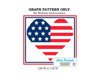 Pattern-Heart of the American Flag Graphgan, flags,hearts,chart,DIY,red,white,blue,blanket,personalized,sc,single,crochet,4th,pride,stars,
