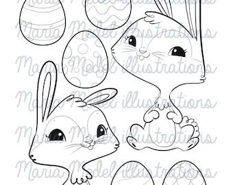 Easter Bunnies digital stamp set- instant download for scrapbooking, card making, coloring, kids crafts, etc
