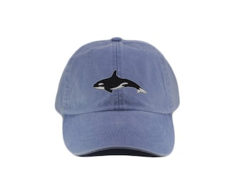 Orca embroidered hat, baseball cap, whale hat, orca cap, killer whale hat, dad hat, mom cap, wildlife cap, animal, single orca