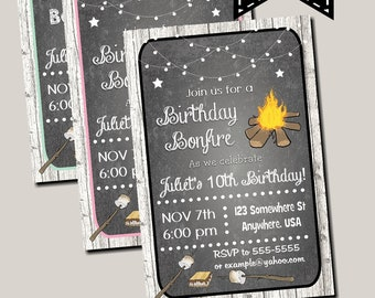 Chalkboard Birthday Bonfire Invitation Digital Printable