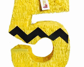 Large Yellow Number Five Pinata Charlie Inspired Fifth Birthday