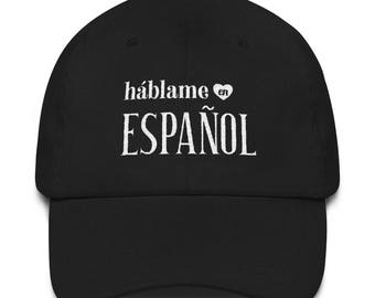 Talk to Me In Spanish Hat, hablame en espanol, Spanish Student Teacher Novelty Gift, Spanish Language Travel Hat, Learn Spanish Study Gift