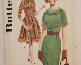 60's Vintage Butterick Sewing Pattern 2494 Dress with Shawl Collar Full or Slim Skirt  size 12 Bust 32