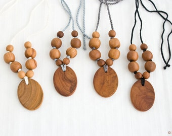 Wooden Nursing Necklace - Black, Gray, White, Apple Wood - Teething Necklace, Wood Pendant, New Mom Necklace - NP29