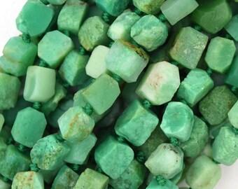 "7-9mm matte Australian green chrysoprase nugget beads 16"" strand 39831"