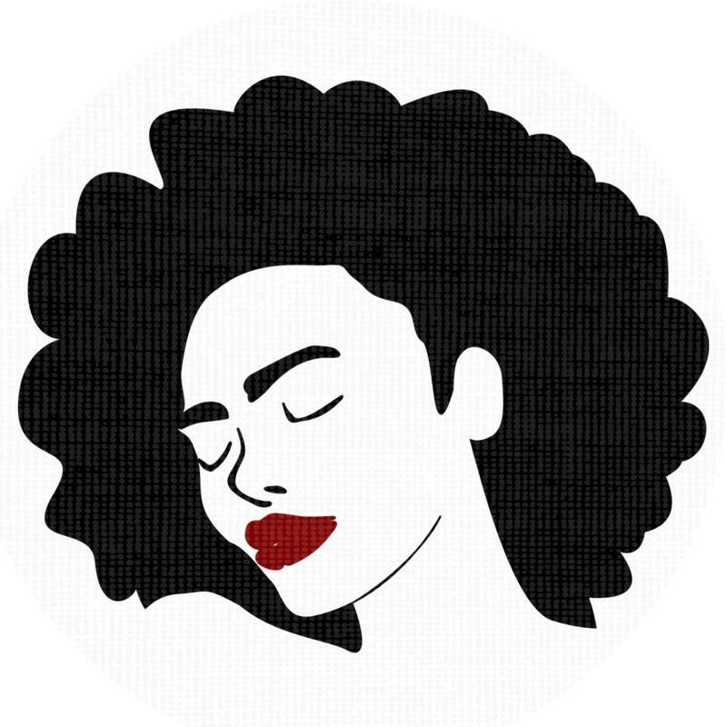 black woman afro silhouette svg clip art natural nappy curly hair rh etsystudio com Natural Hair Logos natural black hair clipart