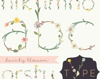 CLIP ART - Dainty Blossom Alphabet - for commercial and personal use