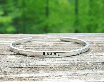 Brave Bracelet, Hand Stamped Bracelet, Skinny Stacking Cuff