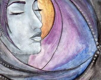 Night Goddess Art Fantasy ART Print Pagan Art Wiccan Art Moon Stars 5x7 CLEARANCE