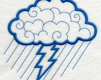 Cloud and Lightning - Machine Embroidered Quilt Block - Weather - Patchwork Block - Kona Cotton - Not Digital Download