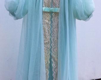 Shadowline chiffon lace nightgown peignoir robe negligee lingerie 2 pc set light green small