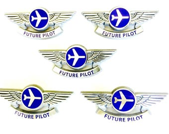 5 Kids Aviator Future Pilot Silver Airplane Pilot Wing Pins Party Favors
