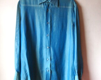 Sheer Mens 1990s / 90s Shiny Designer NYC Rock N Roll Glam Bad Ass Emerald Blue Green Long Sleeve Slouchy Oversized Party Shirt