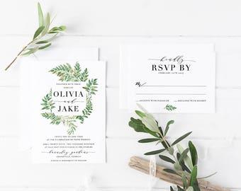 Printable Wedding Invitation Suite / Wedding Invite Set - Printable Wedding Invitation - Wedding Invitation Set - The Olivia Fern Suite