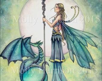 Aquamarine Dragon - Fairy and Dragon Fantasy Art - Watercolor Fine Art Print 12 x 16 inch