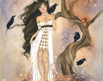 Woodland Art Original Watercolor Painting - Crows - fantasy. woodland. fairy tale. whimsical. autumn. dream. leaves. orange. dusky.