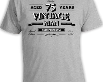 75th Birthday T Shirt Grandpa Gift Ideas For Him Personalized TShirt Custom Age Bday Aged 75