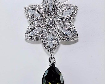 3ct Peridot and White Topaz .925 Solid Sterling Silver Pendant