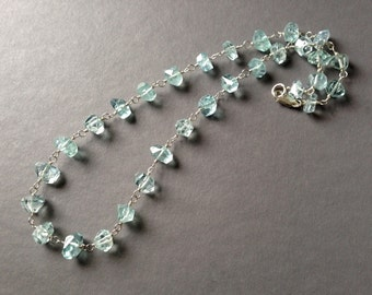Natural Aquamarine and Silver Necklace Set