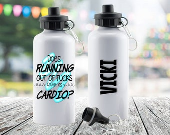 Running Out Of Cardio Water Bottle Gym Fitness Perfect Gift Present Mum Dad Boy Girl Man Woman