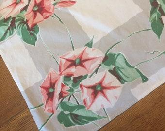 Vintage Tea Towel, 1950's Wilendur Morning Glory Printed Cotton,  Pink White Gray Flowers, Cottage Bungalow Kitchen Decor